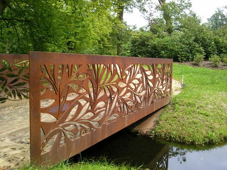 136 best images about corten steel landscaping on for Metal garden bridge designs