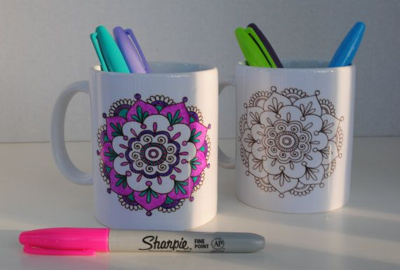 Mandala Coffe Mug to color yourself with 3 por MandalaFactory