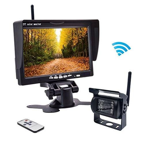 """Wireless Backup Camera RC 12V-24V Rear View and Monitor Kit Waterproof Parking Assistance System For Car/ Truck / Van / Caravan / Trailers / Camper with 7""""HD LCD Night Vision cam"""