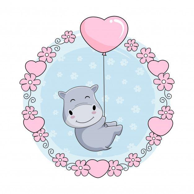 Cute Baby Hippo Cartoon Fly With Love Balloon Baby Animal Drawings Cute Hippo Cartoon Hippo