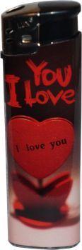 RZOnlinehandel - LUX Elektronik Feuerzeug Nachfüllbar Love Motiv - I Love You