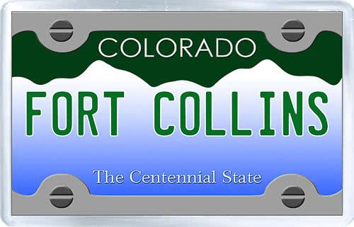 $3.29 - Acrylic Fridge Magnet: United States. License Plate of Fort Collins Colorado