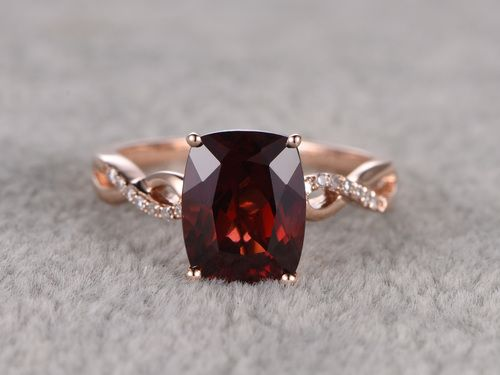 2.75ctw Cushion Garnet Engagement Ring Diamond Wedding Ring 14k Rose Gold Curved Twisted Design