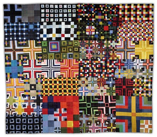 "Would it be possible to sleep under this quilt or would it be just too much? I kinda want one. (9 Patch Color Study 4  2008, 90"" x103""    Eleanor McCain Art Quilts)"