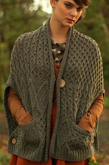 Carraig Donn Irish Aran Wool Sweater Womens Cable Knit Wrap With Pockets…