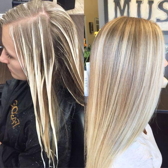 Shatush vor und nach dem dunklen Haar