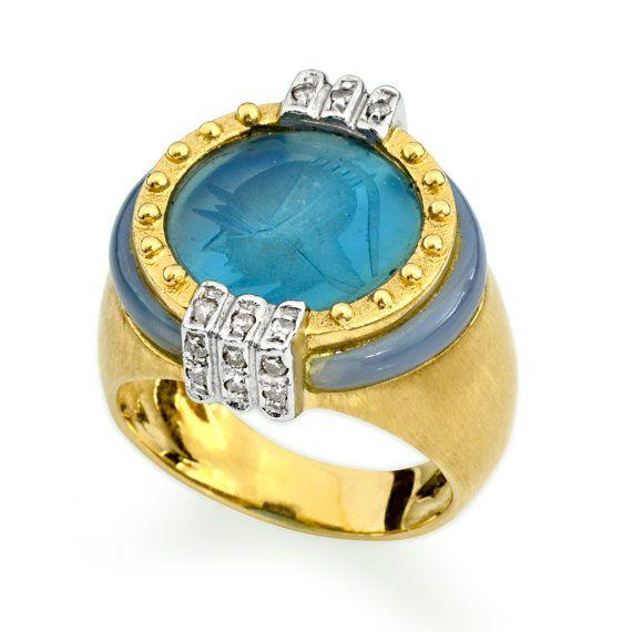 Azul anillo de turmalina, único diamante anillo de compromiso, 14K anillo de oro de piedras preciosas, joyas de turmalina