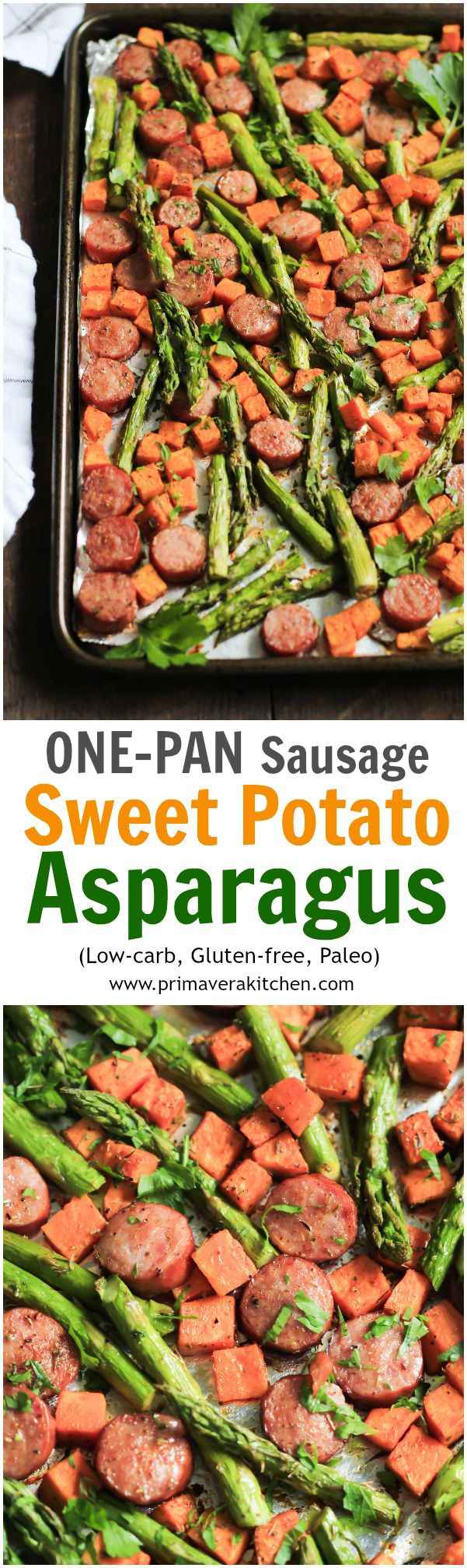 One-Pan Sausage with Sweet Potato and Asparagus - This One-pan Sausage with Sweet potato and Asparagus recipe is all made in one-pan, which is great for cleaning up and it's ready in 15 minutes.