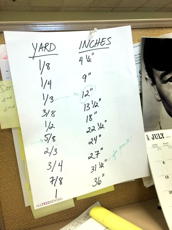 You know you may like sewing just a little too much when your yardage chart is hung up at your desk... at work.