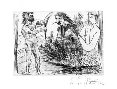 "Homme Façonnant un Arc Devant une Jeune Femme et un Flutiste (Bloch 305) 1938 (19 February, Paris) Drypoint printed on laid Montval Signed lower right, in pencil Dedicated ""Pour Frélaut, Paris le 27 Avril 1942"" lower right One of a few proofs Printed by Lacourière, 1942"