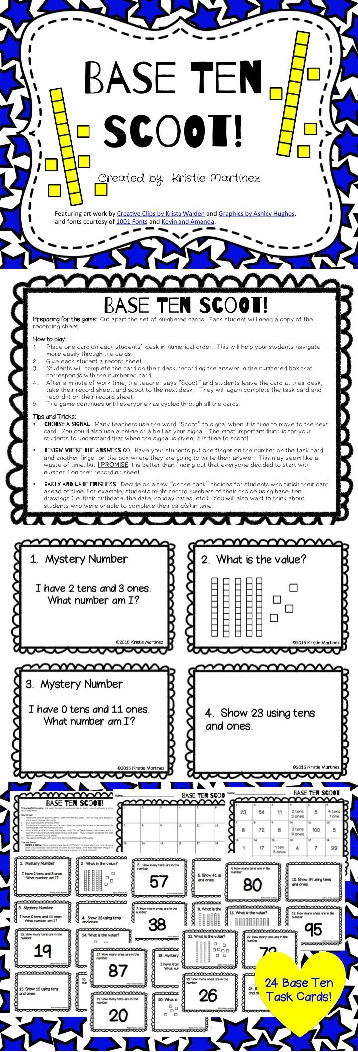 Base Ten Scoot! is a game that will get the entire class up and moving around while reviewing Common Core Numbers and Operations in Base Ten Standards. Base Ten Scoot! provides practice with counting tens and ones, identifying place value within two-digit numbers, and representing two-digit numbers with tens and ones.