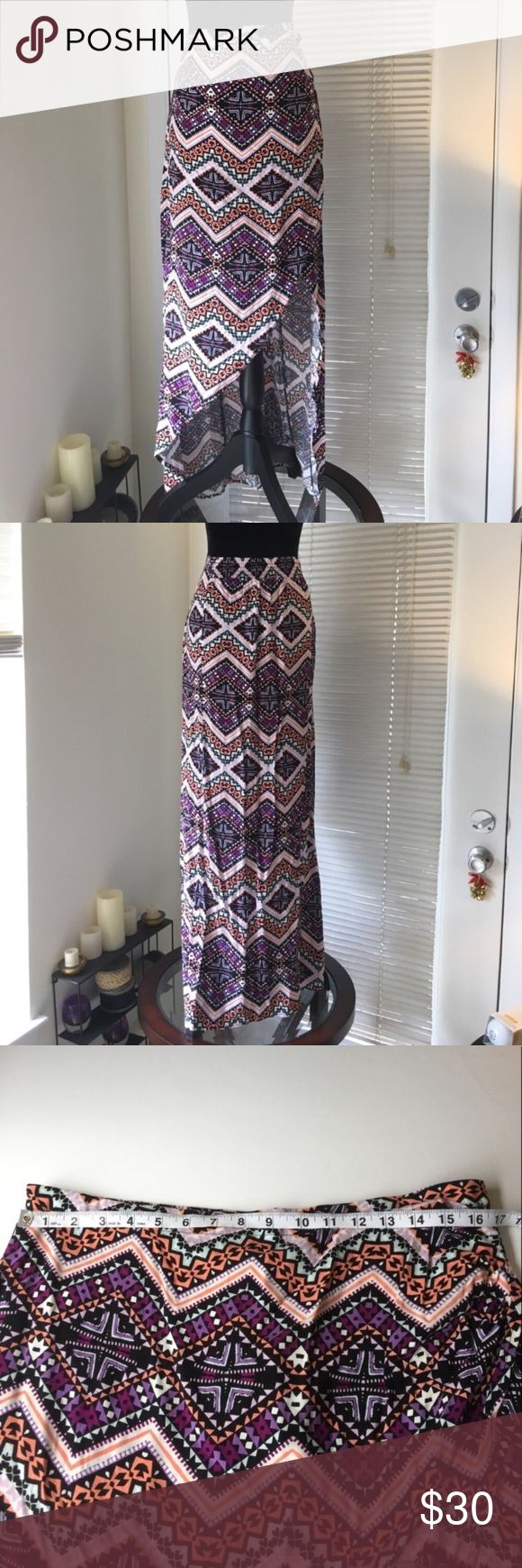 Express Chevron print wrap maxi skirt Purple, coral and pale green Aztec print maxi skirt from Express. Faux wrap style with hi low hem. Elastic at back waist and side zipper. NWT Express Skirts High Low
