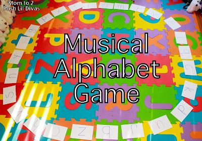 Play to Learn the Alphabet with Musical Alphabet (like musical chairs!) an active way to review letters & their sounds #Momto2PoshLilDivas