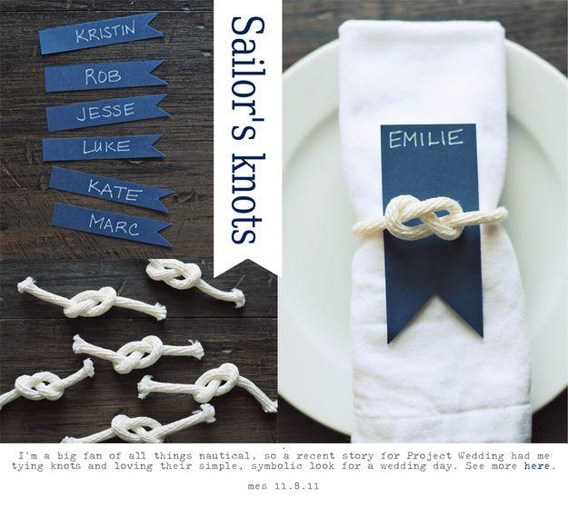 Sailor's Knot Napkin Settings | 36 Utterly Charming Nautical DIYs