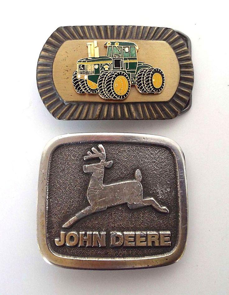 2 Piece Estate Lot Vintage John Deere Metal Belt Buckles Wyoming Studio  #WyomingStudioArtWorks