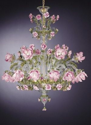 Green, gold and pink Murano rose chandelier