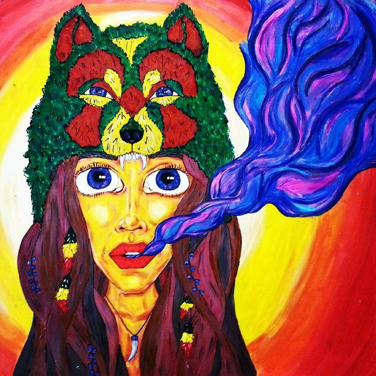 Рисунок 70на70см. Девушка, дым и волк. Волк немного раста :)) Стильно, модно, молодежно, ага :))) #арт #рисунок #девушка #волк #дым #пар #раста #art #drawing #girl #wolf #smoke #hookah #vape #rasta #rastafari #cloud #by_atatay