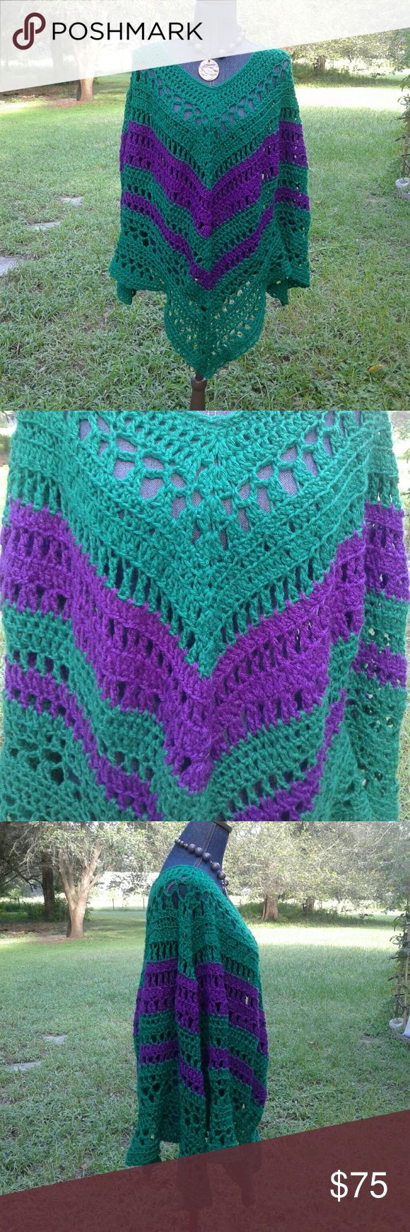 """Hand Crochet Poncho Boho Festival Hippie Just finished! Beautiful vibrant green & purple hand crochet poncho.  Perfect for those summer festivities, festivals, cook outs,  family gatherings. Measures 26"""" from neck to front point,  34"""" across front bust. Super stretchy, will fit M to XL. 100% acrylic is machine washable. One of a kind! Will add fringe if requested for additional fee. Price firm unless bundled. Lobax Sweaters Shrugs & Ponchos"""