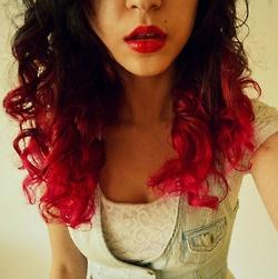 dip dyed red hair