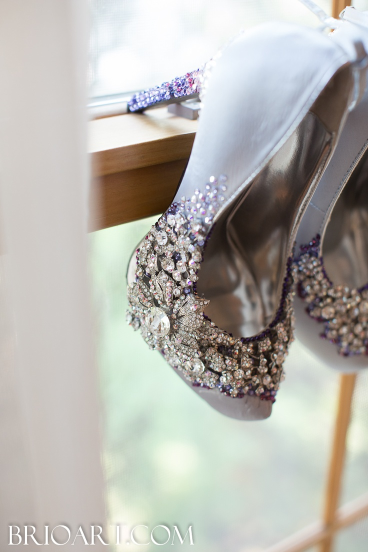 """Cinderella"" Wedding Shoes- love the bro and the touch of color."
