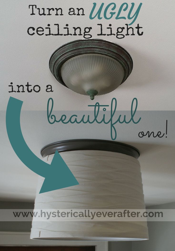"""Take an ugly """"boob"""" ceiling light and update it! A simple, cheap DIY that takes just minutes and requires NO electrical work. www.hystericallye..."""