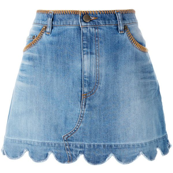 Red Valentino scallop hem denim skirt (2,900 GTQ) ❤ liked on Polyvore featuring skirts, denim, bottoms, blue, red valentino, knee length denim skirt, red valentino skirt, denim skirt and blue skirt