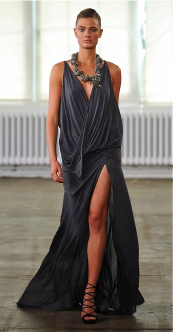 I like the idea of this, especially if it was a little more fitted.  I think the color is beautiful for this style of dress.
