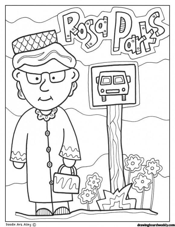Rosa Parks Coloring Page Black History Month Printables Black History Month Crafts Black History Activities