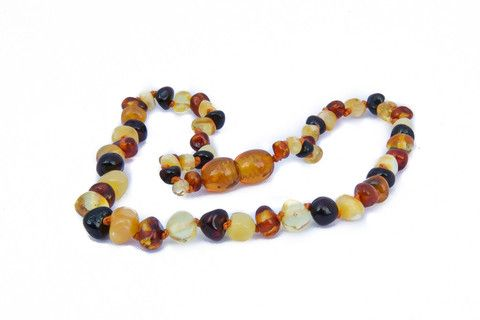 Childrens Amber Teething Necklace - Multicoloured Baroque by Amberocks.