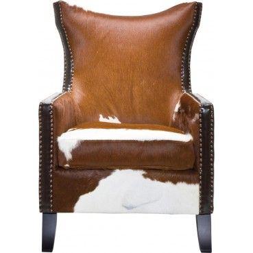 Un #fauteuil à oreilles idéal pour donner une touche d'authenticité à votre intérieur. Sa #peau de vache et son cuir vous plonge dans une ambiance digne des #chalets de montagne.  Fauteuil à oreilles Denver Cow #Kare #Design