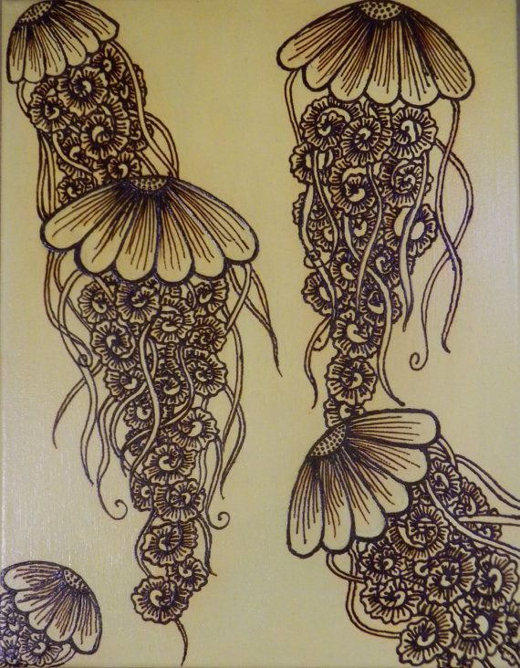 Jellyfish, Acrylic Mixed Media Painting with Henna Design, Unique, OOAK, Global Art, Free Shipping Worldwide via Etsy