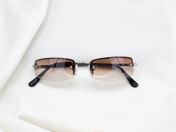 ca335b5c879 Small Square Rimless Vintage Sunglasses