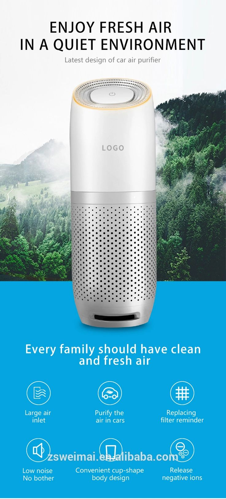 Latest design with hepa filter car air purifier, View Air