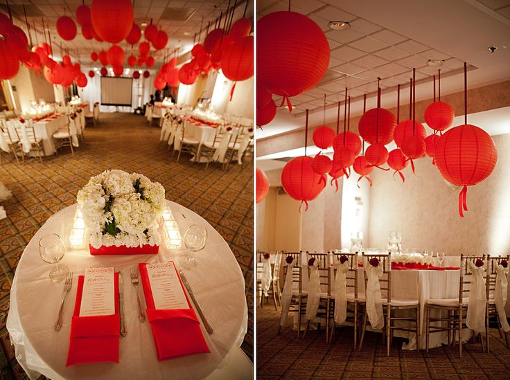 adult red and white birthday party