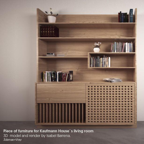 Furniture for Kaufmann House's living room. 3D model+render by Isabel Barrena.