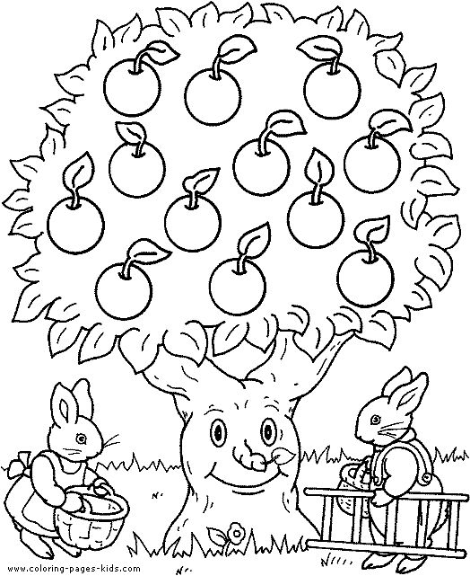 Bunnies with an apple tree color page