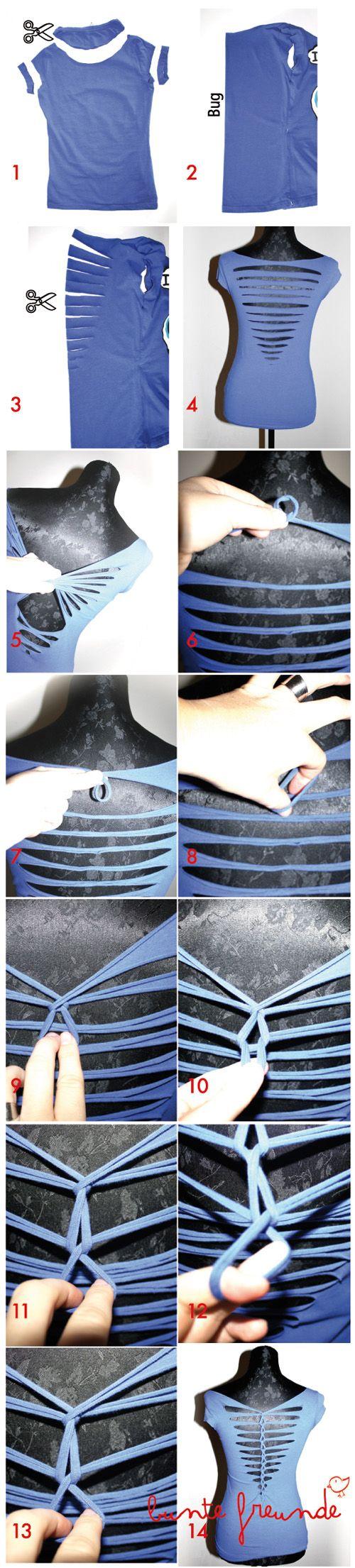 Tutorial Cutting Weaving Braiding Shirt Anleitung