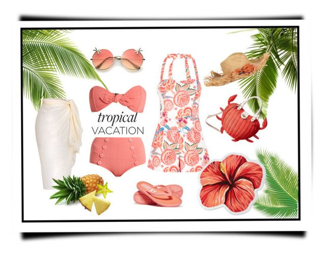 """A Day in Paradise"" by lovetodrinktea ❤ liked on Polyvore featuring Temperley London, Lisa Marie Fernandez, Betsey Johnson, LaMont and Superdry"