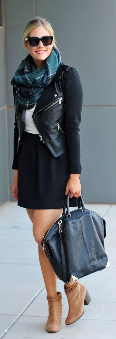 Scarf, leather jacket, black mini skirt, handbag and mid calf boots