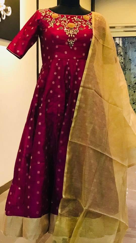 7bc93be57e235 Beautiful wine color floor length anarkali dress with floret lata design hand  embroidery gold thread and kundan work on yoke. Floor length anarkali dress  ...