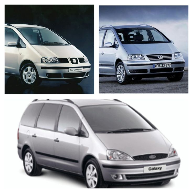 Seat Alhambra (top left) - Volkswagen Sharan (top right) - Ford Galaxy (bottom)  All the same car, just a few styling differences.