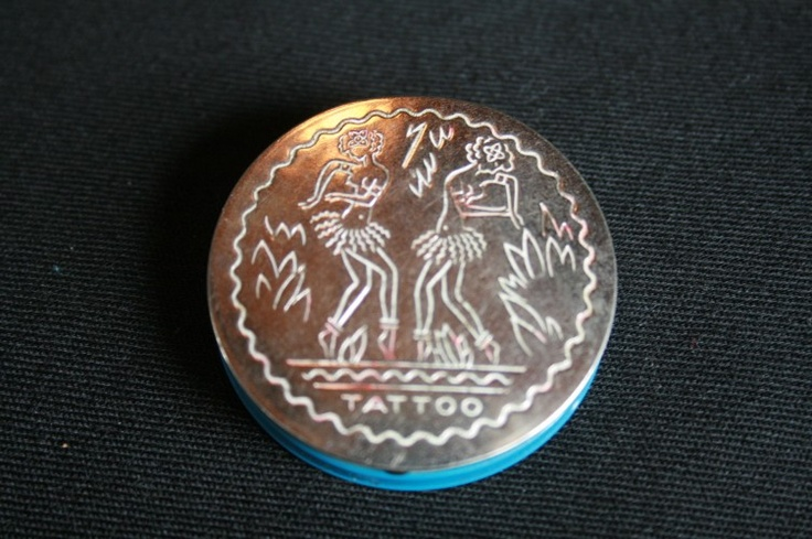 RARE Vintage 1940s art deco HAWAIIAN HULA GIRL TATTOO makeup blush COMPACT. via Etsy.