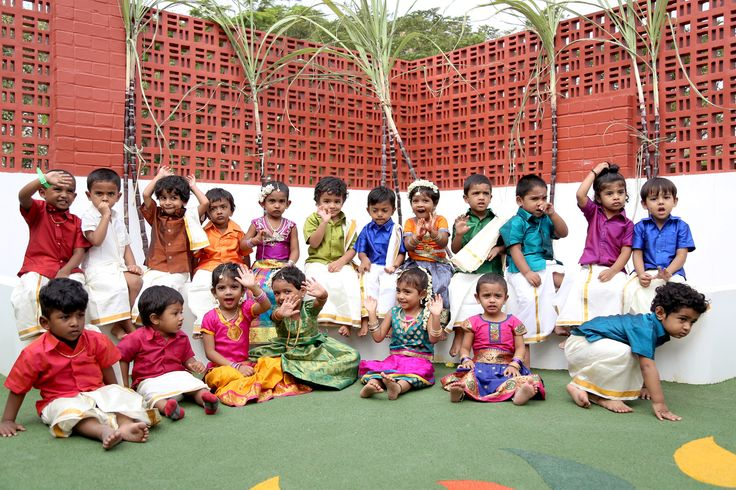 Traditional pongal celebration with our little charms in a traditional look.... #pongal #celebration #ags
