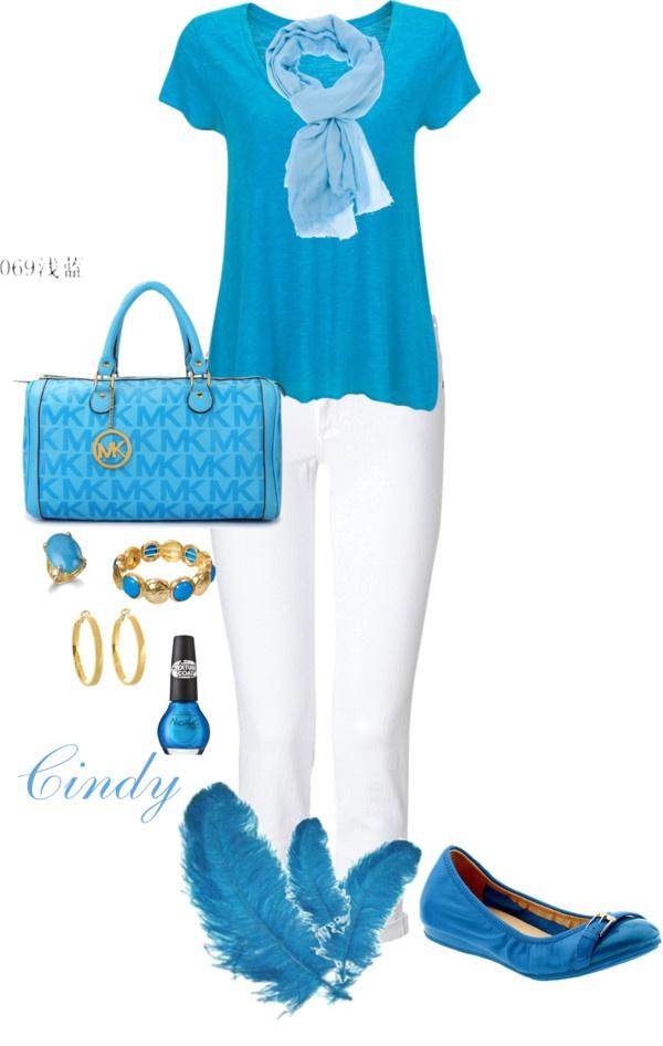 - prachtige blauwe kleur - eenvoudig shirt met stijlvolle assecoires