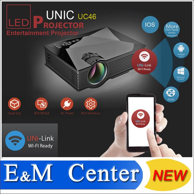 2016 new arrival original Unic UC46 mini Projector Full HD 1080P support mini projector with WIFI connection projector UC46 US $78.50 /piece To Buy Or See Another Product Click On This Link  http://goo.gl/EuGwiH