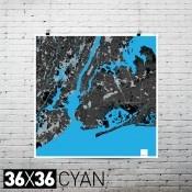 "New York City 36""x36"" Print Map in Cyan/Light/Magenta $50"