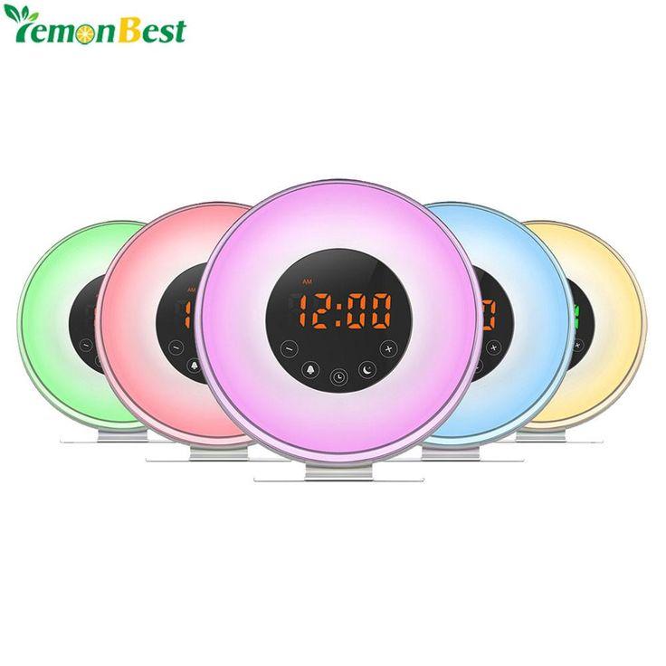Multi-function LED Digital Alarm Clock RGBW LED Light Table Clock Simulated Sunrise/Sunset FM Radio Wake Up Alarm Desktop Clock