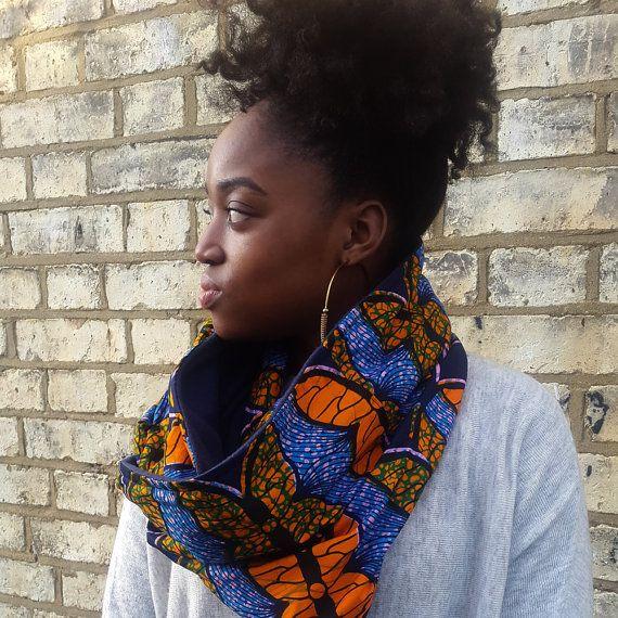 African print snood scarf Ankara Scarf Infinity scarf by Urbanknit