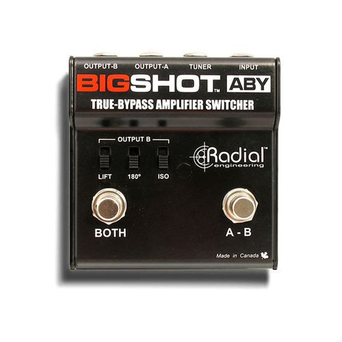 Designed for the purist, this true-bypass ABY switcher is completely passive meaning that there are no tone altering buffers in between the guitar and the amplifier. With the BigShot ABY, you get the pure tone from your guitar plugged direct into your amp! To add versatility, the BigShot ABY is also equipped with a separate tuner out - Shop or buy online | Gladesville Guitar Factory, Sydney Australia