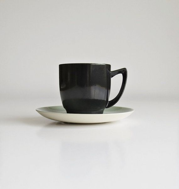 Branksome Graceline Twintone China 1950's Cup and Saucer, Mid Century Black and Blue Grey Coffee Cup and Saucer